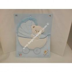 Annuncia nascita carrozzina con orsetto col. azzurro, ricamabile a punto croce