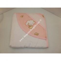 Accappatoio a triangolo, con banda in tela aida ricamabile a punto croce, rosa orsetti