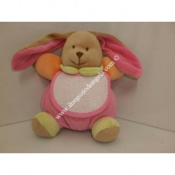 Pupazzo peluche CONIGLIETTO con bavaglino ricamabile a punto croce col. rosa h. 20 cm