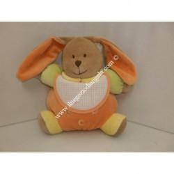 Pupazzo peluche CONIGLIETTO con bavaglino ricamabile a punto croce col. arancio h. 20 cm