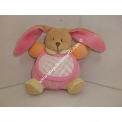 Pupazzo peluche CONIGLIETTO con bavaglino ricamabile a punto croce col. rosa h. 12 cm