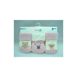Tris di Calzine da neonata col. rosa, cotone caldo