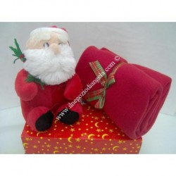 Copertina plaid in pile natalizio con pupazzo BABBO NATALE