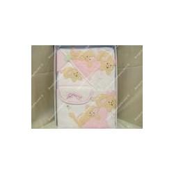 Completo neonata copertina lenzuola accappatoio e bavaglino rosa