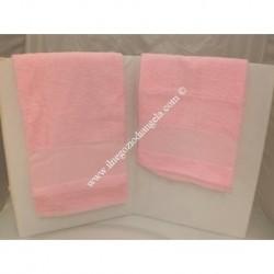 """Coppia di asciugamani di spugna """" Ricama tu """", per punto croce col. rosa"""