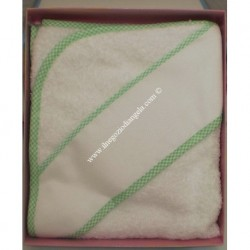 Baby bathrobe with aida for embroidery, green