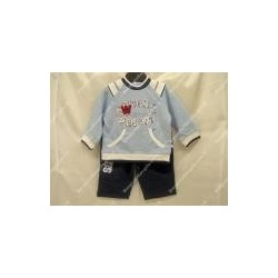 Baby cotton long sleeve and pants for boys, blue