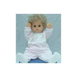 Completino da neonata, golfino e ghettina di ciniglia, rosa