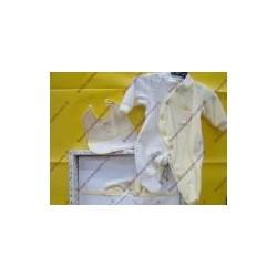 Set con lenzuolino, tutina e bavaglino col. giallo