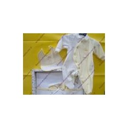 Set yellow with sheets baby jumpsuit and bib