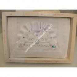 """Lenzuolino per letto bianco e lilla 120x180 cm """" Coniglietti """""""