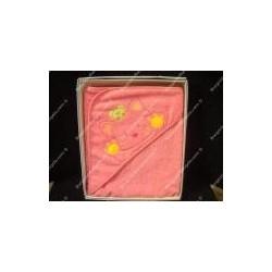 """Accappatoio neonato a triangolo, art. """" Gattino """", colore rosa"""