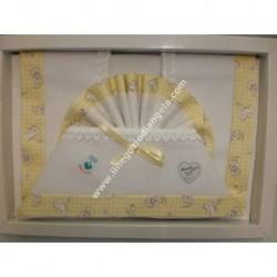 Lenzuolino per letto 120x180 cm con tela aida, piquet giallo