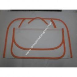 Set all'americana in tela aida, tovaglietta, tovagliolo e bustina col. arancione da ricamare a punto croce