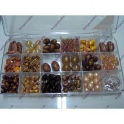 Set perle tonalit ambra e marrone var. 740238-59