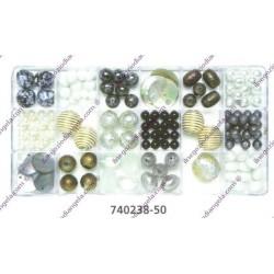 Set perle tonalitbianco, nero, oro, argento var. 740238-50