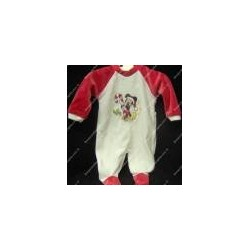 """Baby jumpsuit chenille """" Mickey mouse """" white and red"""