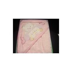 Accappatoio neonato a triangolo, orsetto e pesciolini, rosa