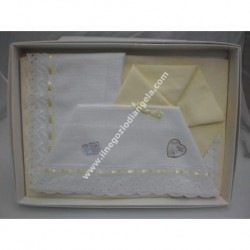 Sheet for cradle 90x120 cm with aida, yellow colour