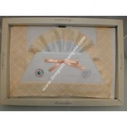 Lenzuolino letto 120x180 cm con tela aida, piquet arancio