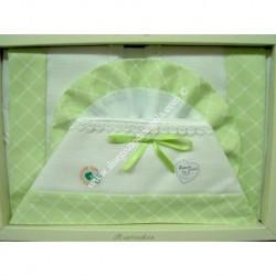 Lenzuolino letto 120x180 cm con tela aida, piquet verde