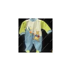 Baby jumpsuit chenille light blue and green colour WINNIE THE PO