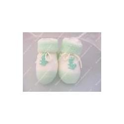 """Babbucce neonato in lana """" Coniglietto """" colore verdino"""