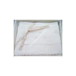 Lenzuolino ecru, culla 90x120 cm ricamato a mano, puro LINO