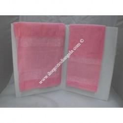 Coppia di asciugamani di spugna da ricamare a punto croce col rosa SUPER CONVENIENTE!