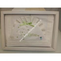 """Lenzuolino bianco con rifiniture verdi per lettino 120x180 cm, """" Love """""""