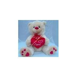 """Orsetto beige con cuore rosso """" LOVE """""""