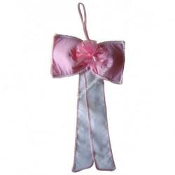 Fiocco annuncia nascita da ricamare col. rosa