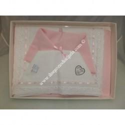 Lenzuolino da ricamare 120x180 col. rosa con pizzo sangallo