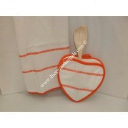 Duo Cucina Wendy: strofinaccio e presina, con inserto in tela aida, arancione