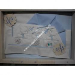 "Blue Sheet for cradle 90x120 cm ""Lumachina"""