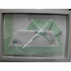 Sheet for cradle 90x120 cm with aida, white and green colour