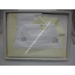 Lenzuolino da ricamare 90x120 col. bianco e giallo, bordo cotone piquet