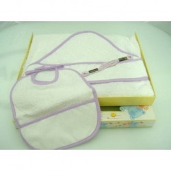 Baby bathrobe + bib with aida for embroidery, VIOLET