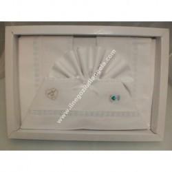Lenzuolino per letto 120x180 cm con tela aida, piquet bianco