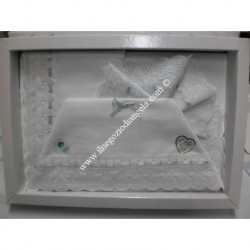 Sheet for cradle 90x120 cm with aida, white and grey color
