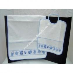 Set asilo celeste bavaglino + asciugamano celeste