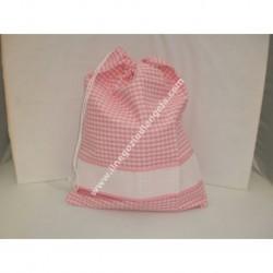 Sacchetto porta tutto art. ADAMO, colore rosa, con striscia in tela aida ricamabile a punto croce