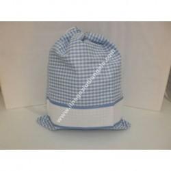 Sacchetto porta tutto art. ADAMO, colore azzurro, con striscia in tela aida ricamabile a punto croce