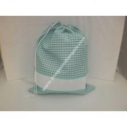 Sacchetto porta tutto art. ADAMO, colore verde, con striscia in tela aida ricamabile a punto croce