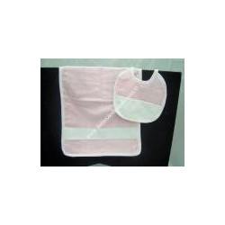 Asciugamano + bavaglino ricamabili colore rosa