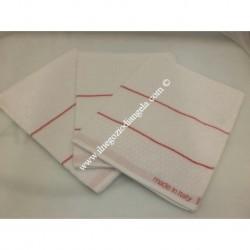 Tris di Strofinacci da cucina in spugna con profilo rosso fascia in tela aida