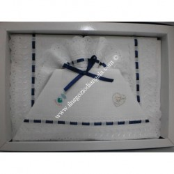 Lenzuolino da ricamare 120x180 col. blu con pizzo sangallo