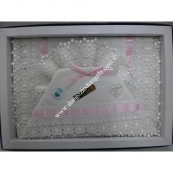 Lenzuolino avorio in pizzo macrame per letto 120x180 cm, con nastrino rosa