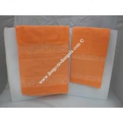 Coppia di asciugamani di spugna da ricamare a punto croce col. arancio SUPER CONVENIENTE!