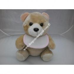 Pupazzo peluche orso con bavaglino ricamabile a punto croce bordo rosa